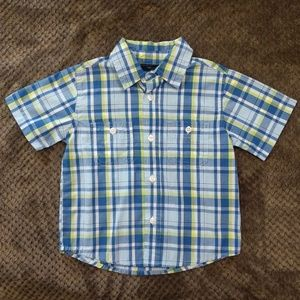 Faded Glory | Blue/Lime Green plaid | 24 months